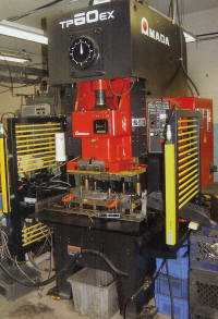 Amada C-frame Press with IMCO TONNAGE LOAD MONITORS